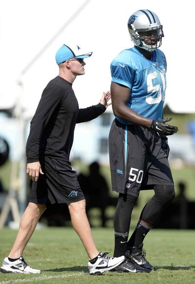 Alex Hall (50) was cut by the Carolina Panthers on Sunday.