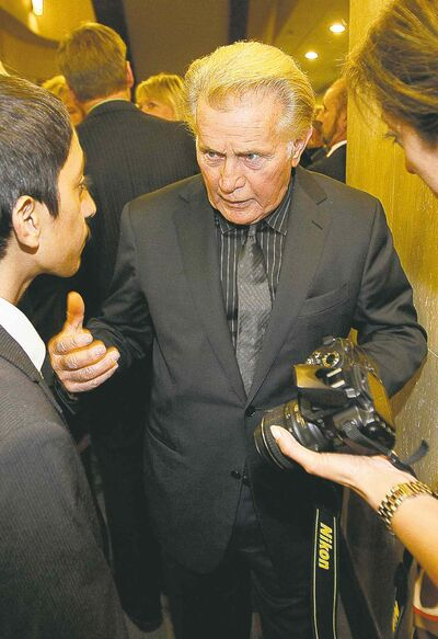 Actor Martin Sheen speaks to a guest at the We Day Dinner at the Radisson Tuesday.