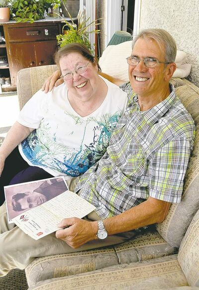 Sheila Cramer and her long-lost and finally found half-brother Peter Westcott.