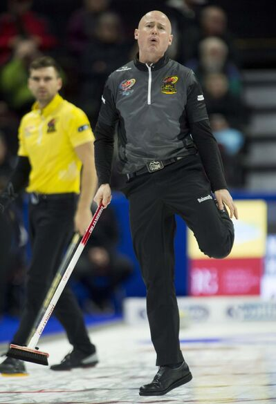 THE CANADIAN PRESS/Adrian Wyld</p><p>Skip Kevin Koe, from Calgary, Alta reacts to his shot entering the house during third end action against Team McEwen at the Olympic curling trials Tuesday December 5, 2017 in Ottawa. </p>