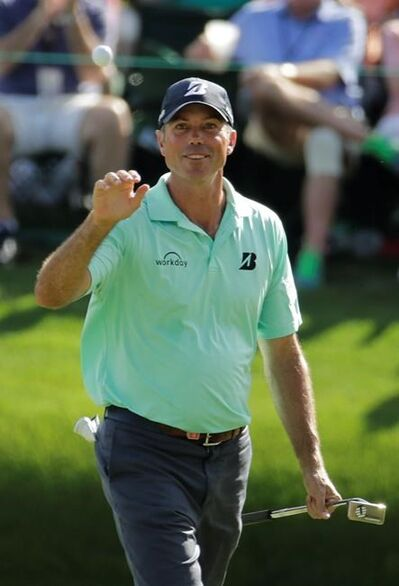 Matt Kuchar reacts to his birdie on the 16th hole during the third round for the Masters golf tournament Saturday, April 13, 2019, in Augusta, Ga. (AP Photo/Charlie Riedel)