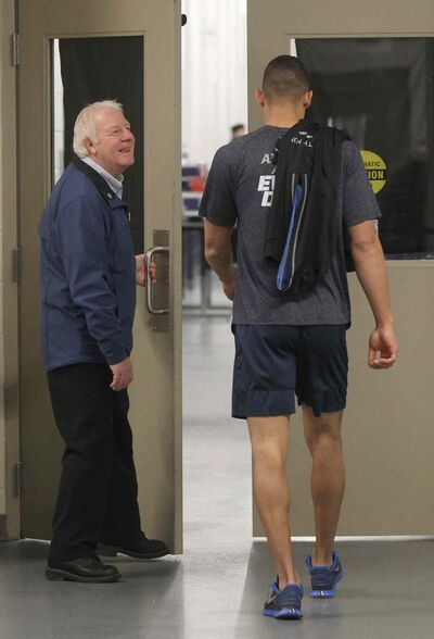 Injured Winnipeg Jet Evander Kane enters dressing room after he exited gym at Winnipeg Jets practice Monday morning at the MTS Iceplex. He did not skate during practice. Head Coach Claude Noel says Kane's injuries will keep him out of the next few games.