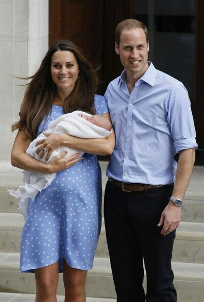 A visibly post-pregnant Kate leaves the hospital with William and George (above) on Tuesday.  When William's parents left the same hospital with him in 1982, Diana wore a looser-fitting dress to camouflage her weight.