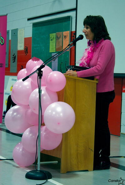 Kent Road School resource teacher Brenda Ryant speaks during the school's Day of Pink ceremonies on April 10.