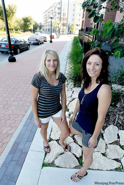 Katharina Smutny (left) and Kaley Maksymyk are enjoying downtown living after moving into condos in the Exchange District this summer.