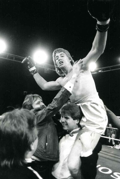Donny Lalonde after defeating Jimmy Gradson to retain his Canadian light-heavyweight boxing championship title in 1984.