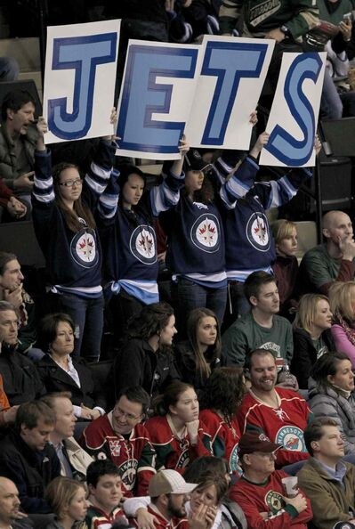 Winnipeg fans were out in force when the Jets beat the Wild 4-3 at the Xcel Energy Center on Feb. 16, 2012.