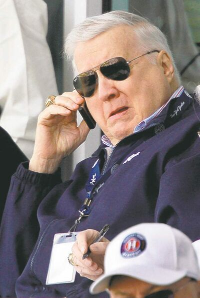 Steinbrenner lives: 2009 file photo, New York Yankees principal owner George Steinbrenner talks on the phone in the owner's box during a spring training baseball game in Tampa, Fla. Late Yankees owner George Steinbrenner, seeking a pardon for his conviction over an illegal corporate campaign contribution to President Richard Nixon, blamed the donation on bad advice from his lawyers, according to his FBI file, part of which was released Monday.