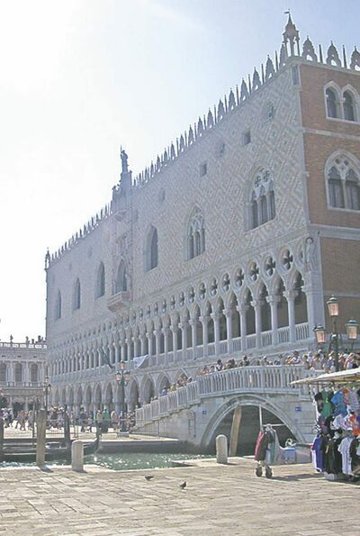 Tourists at the Palace of the Doges in the heart of Venice.