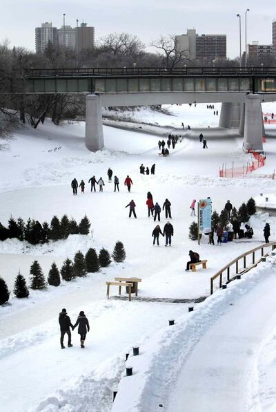 The Red River Mutual Trail on the Assiniboine River at the Forks.