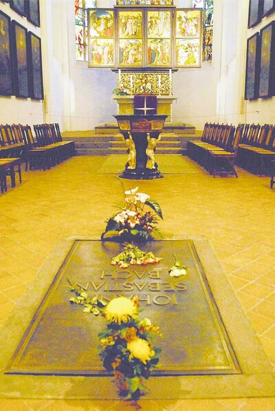Johann Sebastian Bach's resting place in St. Thomas Church; Bach moved to Leipzig in 1723, where he became music director; he died in Leipzig in 1750.