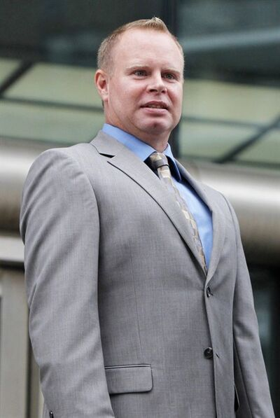 FILE - In this Oct. 19, 2010 file photo, former flight attendant Steven Slater leaves a Queens courthouse in New York. When a JetBlue flight landed at New York's John F. Kennedy International Airport one day in 2010, flight attendant Steven Slater decided he'd had enough. Slater swore at a passenger over the plane's public address system, grabbed a beer, pulled the emergency chute and slid down onto the tarmac. (AP Photo/Seth Wenig, File)