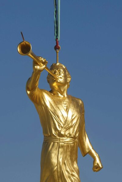 MIKE DEAL / WINNIPEG FREE PRESS</p><p>The statue depicts Moroni, an ancient prophet in the Book of Mormon, who the faithful believe appeared to church founder Joseph Smith.</p>