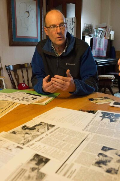 GREG GALLINGER / WINNIPEG FREE PRESS </P><p>Ray Epp still keeps old newspaper clippings from his formative years in Winnipeg.
