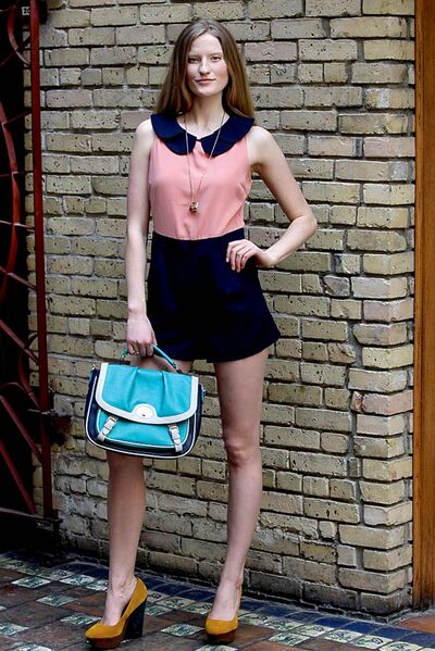 Coral and navy romper  (Angel Eye, $89.99).