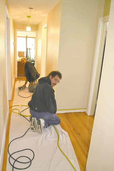 Putting on baseboards in an older home requires skill because sometimes the mouldings need to be scribed to follow discrepancies in the floor.