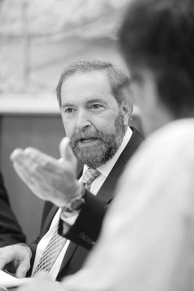 NDP Leader Thomas Mulcair stopped in Brandon on Monday.
