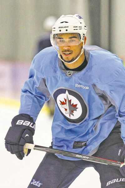 Winnipeg Jets forward Evander Kane take part in practice at the MTS Iceplex Thursday morning.