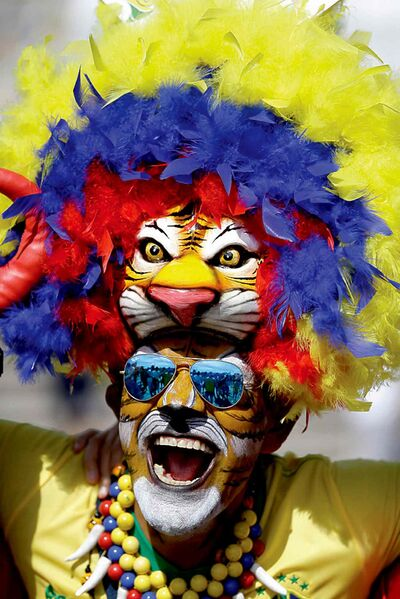A fan cheers at the World Cup soccer match between Belgium and Algeria.