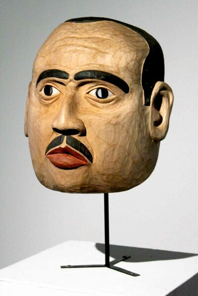 portrait mask of Marlon Brando as The Godfather by the artist's father, late Tsimshian carver Victor Reece.
