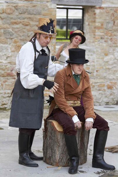 From left, Rob McLaughlin, Jennifer Lyon (background) and Toby Hughes in The Comedy of Errors.