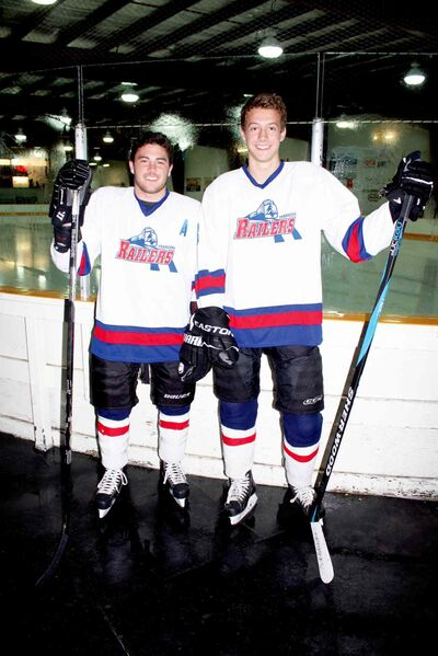 Greg Myall and Mason Gibson of the Transcona Railer Express are shown before a recent practice at Ed Golding Arena.