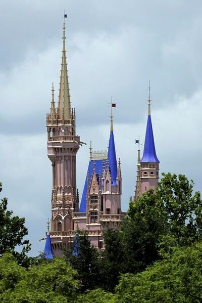 This photo shows the top of the newly painted Cinderella Castle in the Magic Kingdom from World Drive at Walt Disney World on Thursday, July 2, 2020, in Lake Buena Vista, Fla. Magic Kingdom and Animal Kingdom will reopen on July 11. Disney World's other two parks, Epcot and Disney's Hollywood Studios, will welcome back guests four days later. (AP Photo/John Raoux)