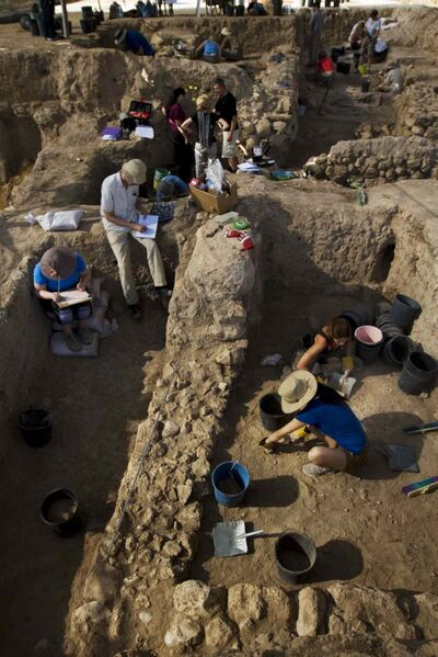 Archeologists work at the site of the city of Gath, where the Bible says David killed Goliath.