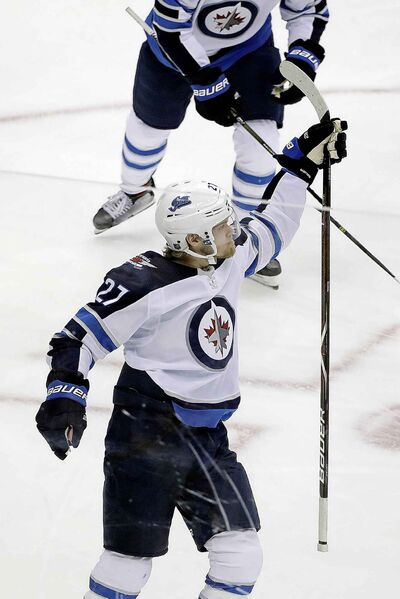 Winnipeg Jets' Nikolaj Ehlers celebrates his goal during the first period.