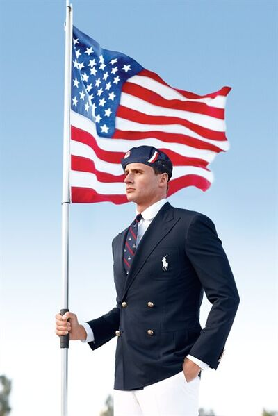 U.S. Olympic swimmer Ryan Lochte models the the official Team USA Opening Ceremony Parade Uniform. (AP Photo/Ralph Lauren)