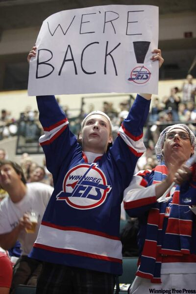 An excited Joshua Berthelett celebrates at the MTS Centre.