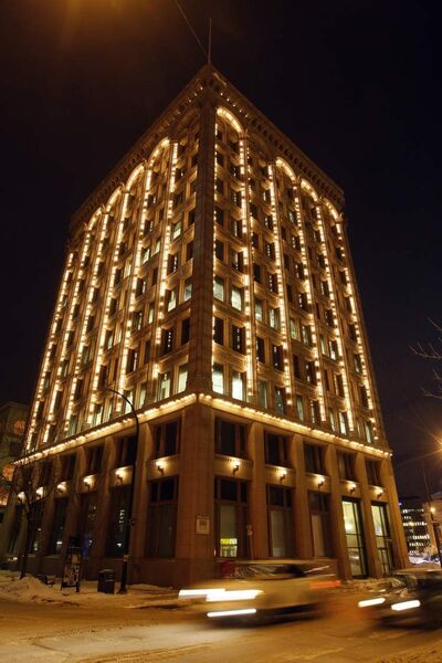The Electric Railway Chamber Building lights up the skyline downtown.