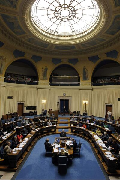 The legislature in session Wednesday. Even an extended session would fall short of past numbers.