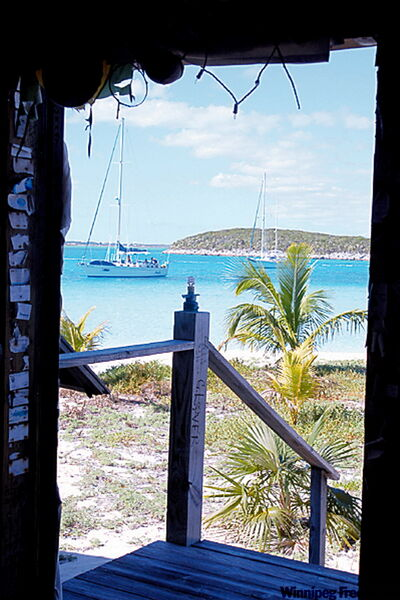 Looking out the door of Chat 'n Chill Bar on Stocking Island in the Exumas of the Bahamas.
