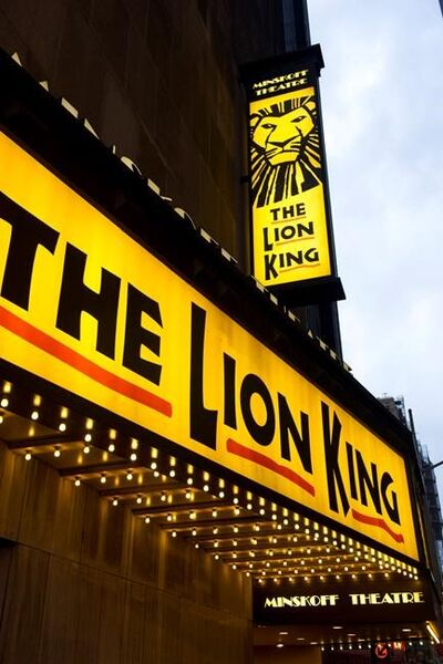 """FILE - The marquee for """"The Lion King"""" is displayed at The Minskoff Theatre in New York on Jan. 19, 2012. Theaters for """"The Lion King,"""" """"Hamilton"""" and """"Wicked"""" all set to reopen on Tuesday. (AP Photo/Charles Sykes, File)"""