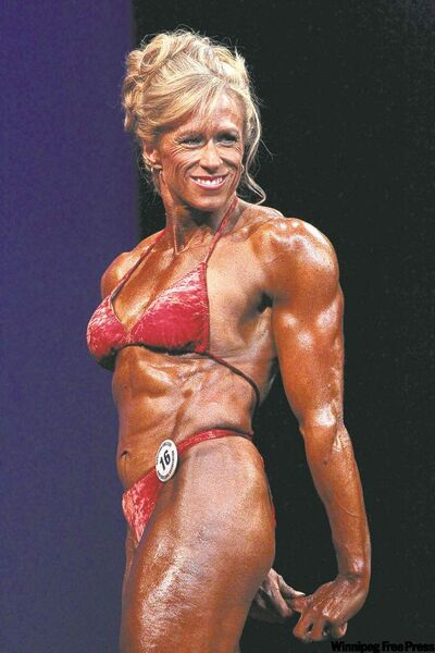 Lorraine Handley competes in the MABBA bodybuilding provincials at the Pantages Playhouse. At right, Handley before beginning her training.