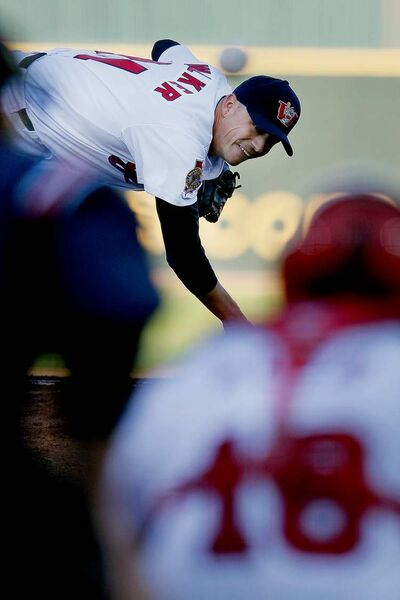 Winnipeg pitcher Ace Walker was in a groove Tuesday night, striking out six  and hurling seven shutout innings.