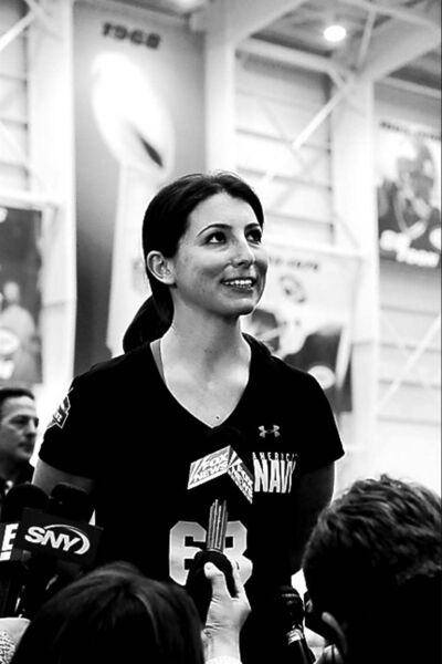 Lauren Silberman addresses reporters after taking two attempts during kicker tryouts at an NFL football regional combine workout, Sunday, March 3, 2013, at the New York Jets' training facility in Florham Park, N.J. (AP Photo/Mel Evans)