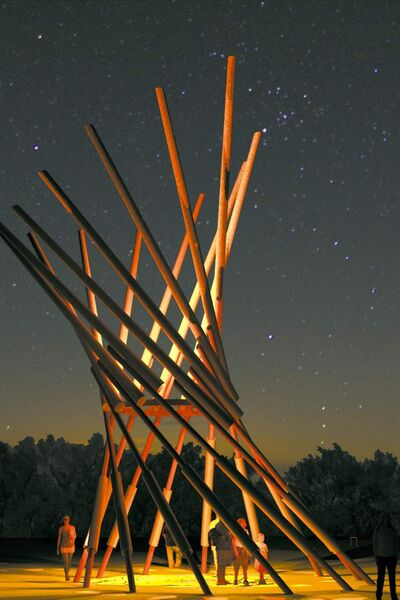 An artist's rendering of the Village Tower at the folk fest site.