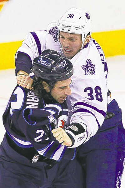 Frequent fighter: Chris Thorburn (left) leads Jets in majors