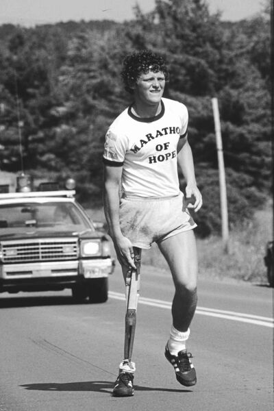 TERRY FOX--This is a undated photo of Terry Fox during his run across Canada to raise money for cancer research. He did not finish the run and died in a Vancouver hospital in 1981. (CP PHOTO)
