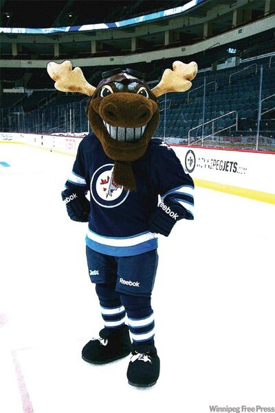 """The Winnipeg Jets' Twitter account shared this photo of """"recently called up"""" mascot Mick E. Moose."""