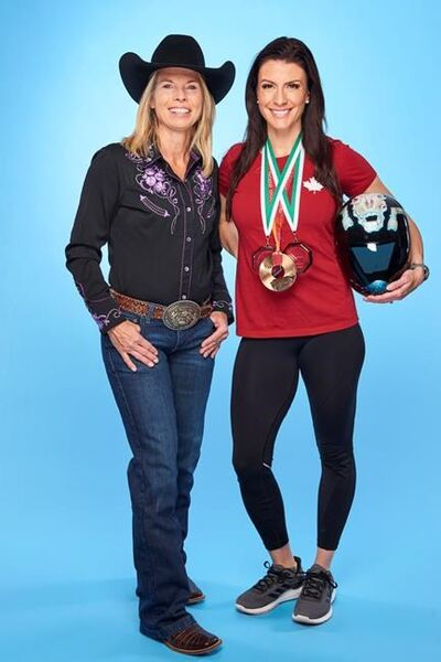 """Two-time national barrel racing champion Nancy Csabay, left, and three-time Olympian Mellisa Hollingsworth, both from Alberta are seen in this undated handout photo. This summer, on """"The Amazing Race Canada: Heroes Edition"""" (premiering July 3 on CTV), there is also a professional barrel racer, an Olympian, two retired air force pilots and Toronto Argonaut cheerleaders. THE CANADIAN PRESS/HO, CTV *MANDATORY CREDIT*"""
