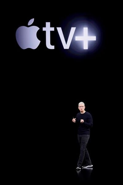 Apple CEO Tim Cook announces Apple TV+ during an new product event Tuesday, Sept. 10, 2019, in Cupertino, Calif. Apple TV Plus is headed to Canada this fall. (AP Photo/Tony Avelar)