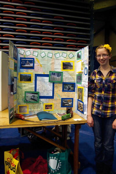 Immanuel Christian School Grade 9 student Lori DeBoer is shown with her project on British Columbia's Spiral Tunnels at the Red River Heritage Fair at the University of Winnipeg on May 2. DeBoer's project landed her in the Top 3.