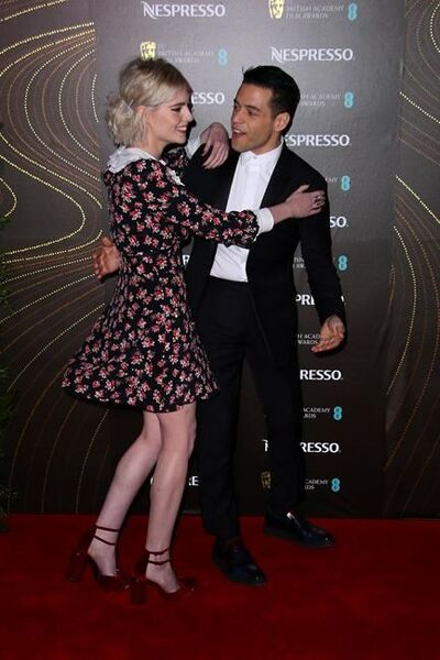 Actors Lucy Boynton, left, and Rami Malek pose for photographers upon arrival at the BAFTA Nominees Party in London, Saturday, Feb. 9, 2019. (Photo by Joel C Ryan/Invision/AP)