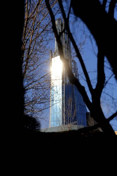 BORIS MINKEVICH / WINNIPEG FREE PRESS</p><p>WEATHER STANDUP - A view of the top of the Canadian Museum for Human Right seen through the trees from The Forks river walk. Nov 14, 2016</p>