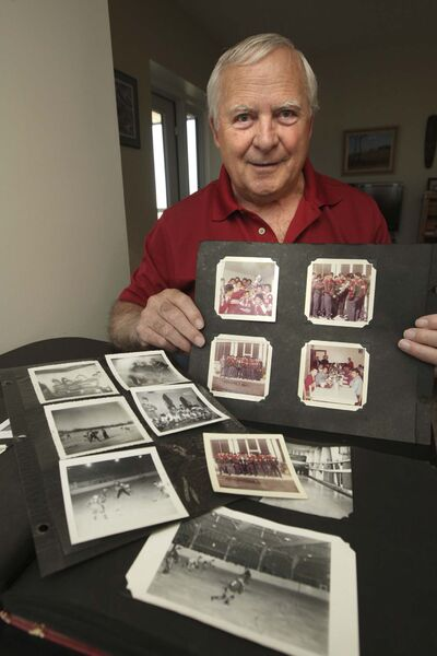 WAYNE GLOWACKI / WINNIPEG FREE PRESS</p><p>Luc Marchildon coached Winnipeg-based residential school hockey teams from the early 1960's. He is with his album with hockey photos from 1960-65.</p>