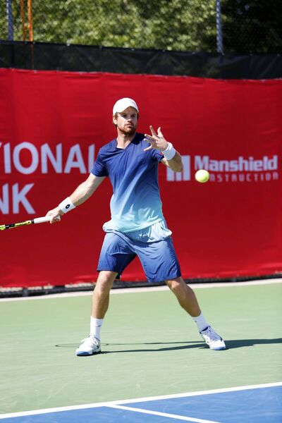 JUSTIN SAMANSKI-LANGILLE / WINNIPEG FREE PRESS FILES</p><p>Slovenia&#39;s Blaz Kavcic winds up to return the ball during a Friday match at the Challenger Cup.</p>