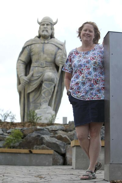 RUTH BONNEVILLE / WINNIPEG FREE PRESS</p><p>Gimli opens new space to house their giant statue of a Viking called Viking Park just prior to the Gimli Icelandic Festival this weekend. Icelandic Festival Executive Director Kristine Sigurdson in the park.</p>